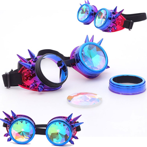 FLORATA Kaleidoscope Colorful Glasses Rave Festival Party EDM Sunglasses Diffracted Lens Steampunk Goggles Pakistan