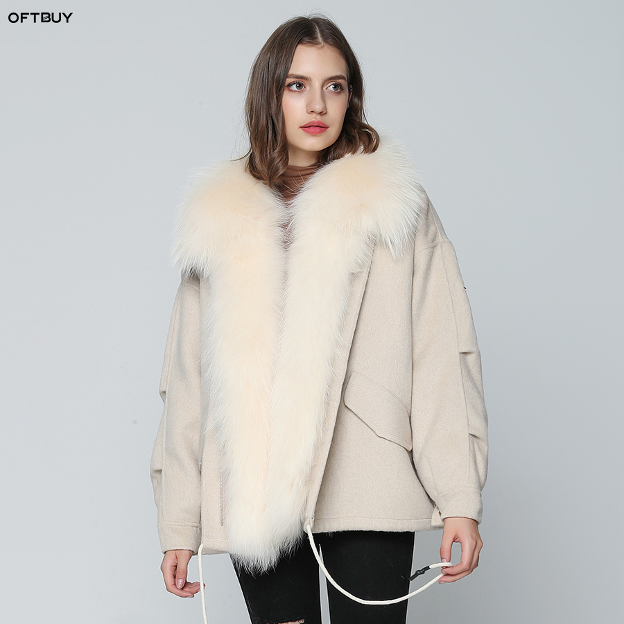 OFTBUY 2019 Real Fur Coat Winter Jacket Women Parka Wool Coat Outerwear Real Natural Raccoon Fur Thick Warm Streetwear Brand New