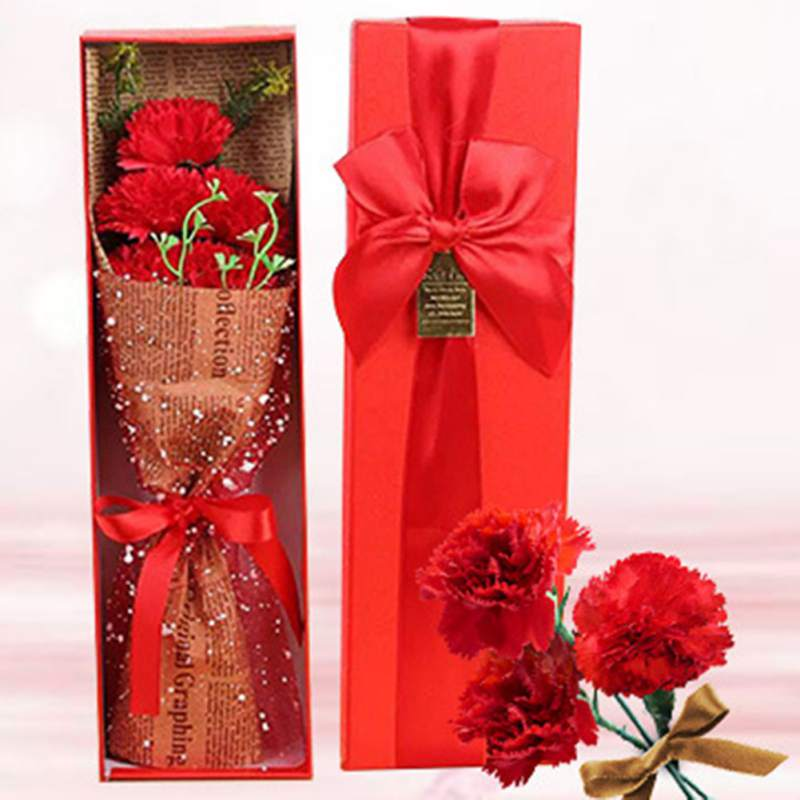 New 5 Pcs lot Wrapped Carnation Bouquet with Gift Box Multifunctional Artificial Blossom Mother 39 s Day Home Decor in Artificial amp Dried Flowers from Home amp Garden