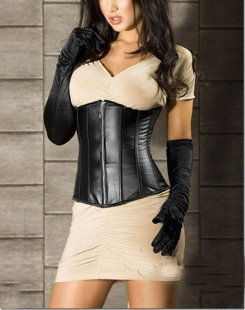 MOONIGHT Fashionable Sexy Leather Corsets And Bustiers Zipper Front Underbust Corselet Waist Corset