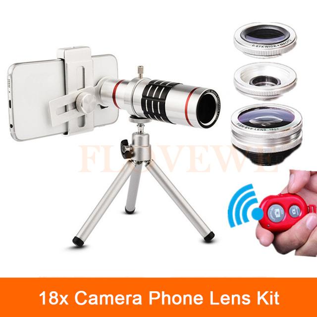 Clipe Universal 18x Zoom Óptico de Telefoto Telescope Lens Com Tripé Controle de Lentes Olho de peixe Wide Angle Lens Macro Para telefone celular
