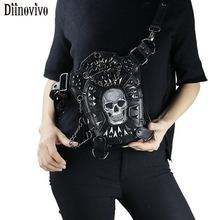 где купить DIINOVIVO Gothic Steampunk Skull Bag Rivet Waist Leg Bags Women Leather Bag Messenger Bag Rock Motorcycle Chest Bag WHDV01202 по лучшей цене