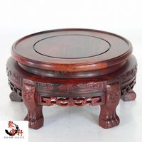 Wood Carving Handicraft Circular Base Solid Carving Flowerpot Vase Household Act The Role Ofing Is Tasted