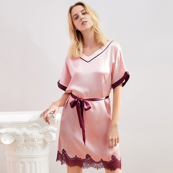 Natural Silk Nightgown Sleepwear Lace Home Dressing Gown Women Sleep Shirt Top Quality Intimate Lingerie Soft Homedress Robe