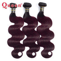 QUEEN Hair Products Brazilian Body Wave Hair 1B/99J Two Tone Ombre Body Wave Hair 100% Human Hair Weave 1/3/4 Bundles Extensions