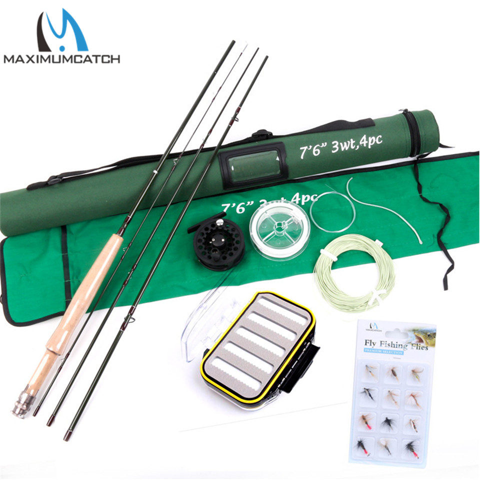 Maximumcatch 7.6FT 3wt Fly Rod & Reel Combo Fast Action Super Light Fly Fishing Rod Combo maximumcatch hvc 7 8 weight exclusive super light fly reel chinese cnc fly fishing reel large arbor aluminum fly reel