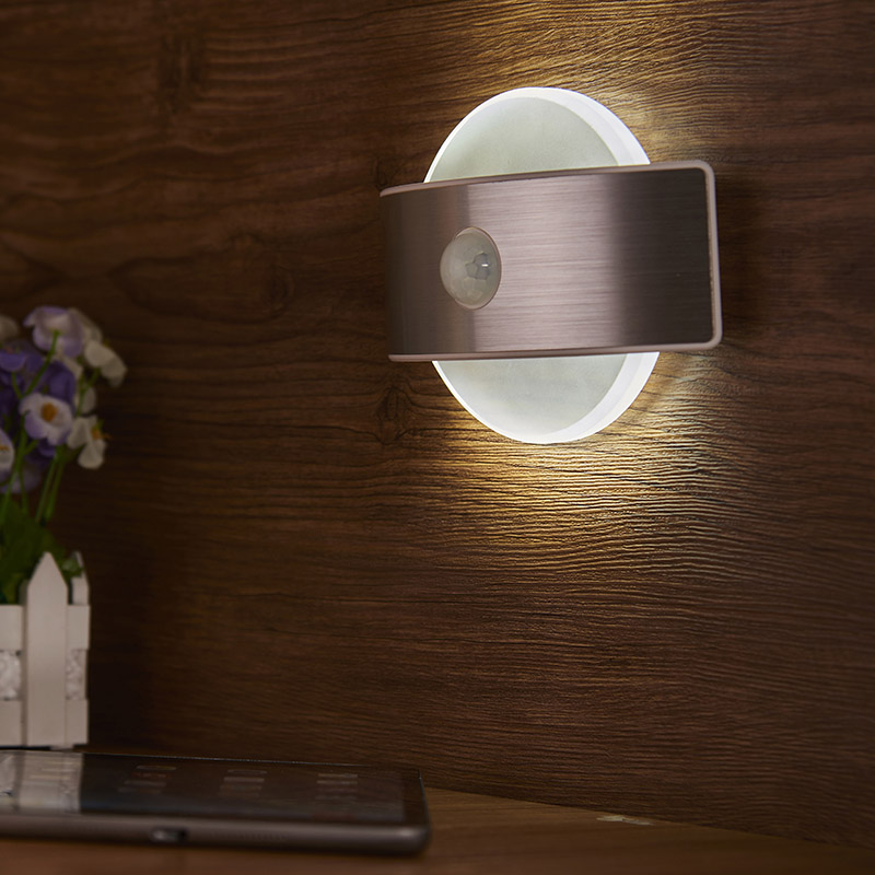 цена на Infrared PIR Motion Sensor LED Night Light Wall Bedside Lamp Square Round Shape Emergency Detector Security Bedroom Home Decor