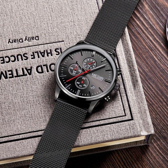 Megir Brand Men's  Stainless Steel Mesh Strap Wristwatch
