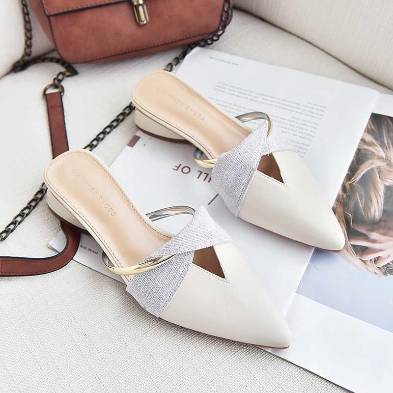2019 novos apartamentos de verão senhora sandálias chinelos soild cor deslizamento no dedo do pé apontado mulheres mules ao ar livre sapatos chinelo mulher slides a194