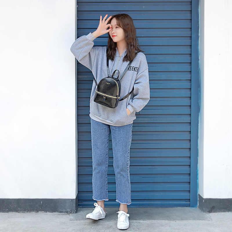 Масляный кожаный рюкзак для девочки подростка 2019 Новый корейский стиль Женская сумка на плечо большая емкость портативный Школьный Рюкзак Для маленьких детей