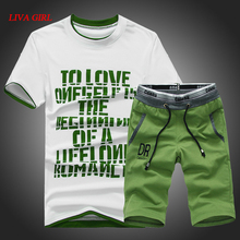 L G 2017 New Arrivals Summer Men's Tracksuit Short Sleeve T-shirtS And Casual Suit Set Men O-neck T-shirts