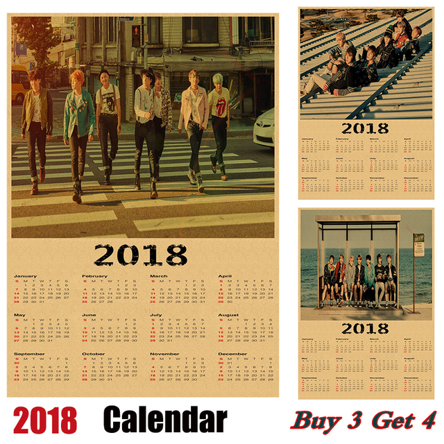 Hot sale korean band bts 2018 calendar kraft paper poster vintage retro antique poster wall sticker