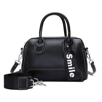 1051  New Fashion Female Top Layer Cowhide Leather Handbag Natural Grain Boston Bag Lading Shoulder Bags Women Bag