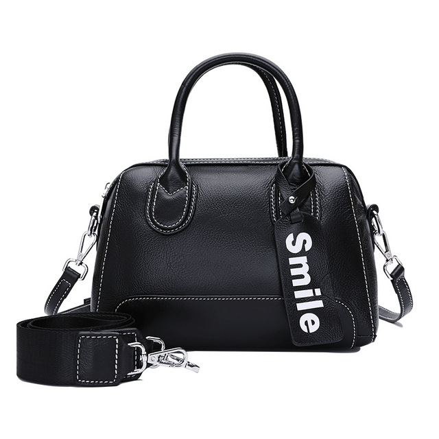 5d732f4dae 1051 New Fashion Female Top Layer Cowhide Leather Handbag Natural Grain Boston  Bag Lading Shoulder Bags