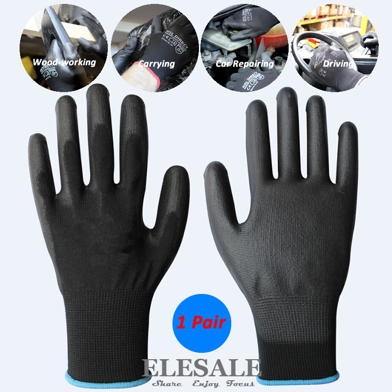 1 Pair Work Safety Gloves Nylon Knitted Gloves With PU Coated For Builder Driver Gardener Repairer Protective Gloves ...