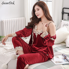 SusanDick 2018 Ladies Three Piece Velvet Pajamas Set Spring Autumn Lace Patchwork Sexy Pijama Ladies Warm Sleepwear Night Suit