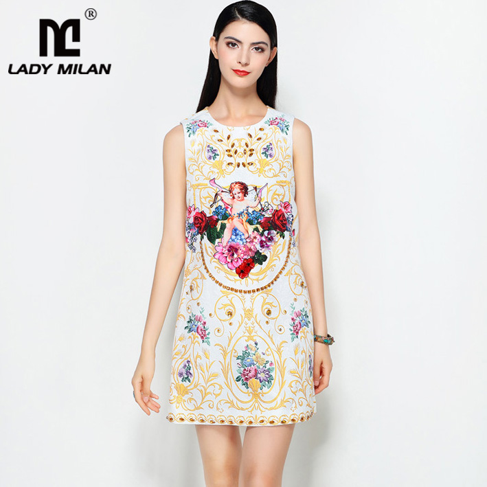 Lady Milan 2018 Womens O Neck Sleeveless Printed Floral Beaded Applqiues Jaquard Fashion A Line Summer Short Dresses