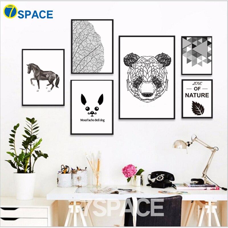 Geometrie Horse Dog Panda Citace Nástěnné umění Obraz na - Dekorace interiéru