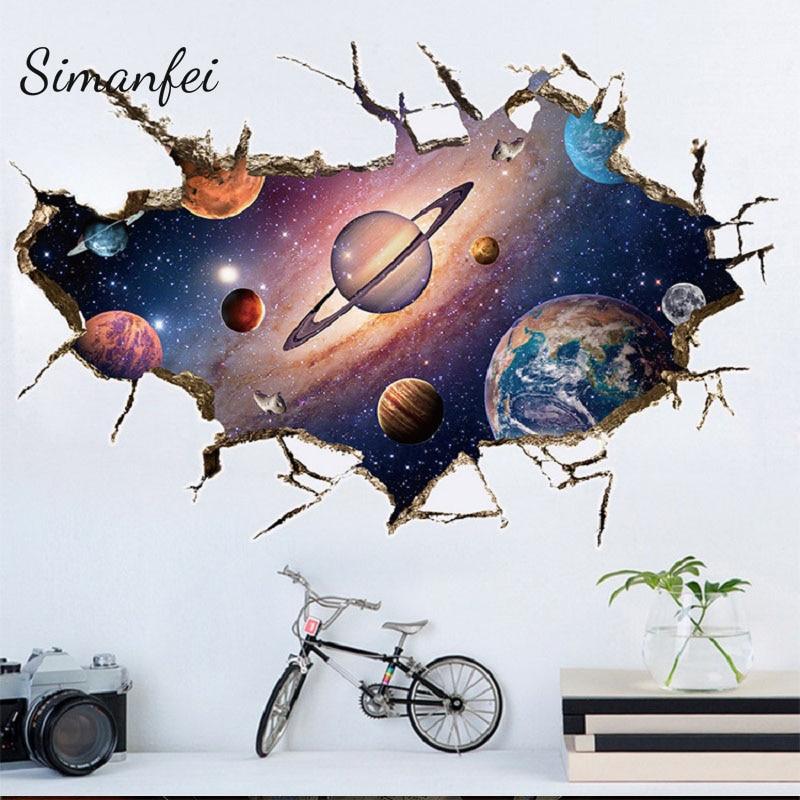 Simanfei Space Galaxy Planets стикер на стену, 2019, Водонепроницаемый Виниловый художественный росписи, наклейка на стену, звездная стена, бумага для украшения детской комнаты