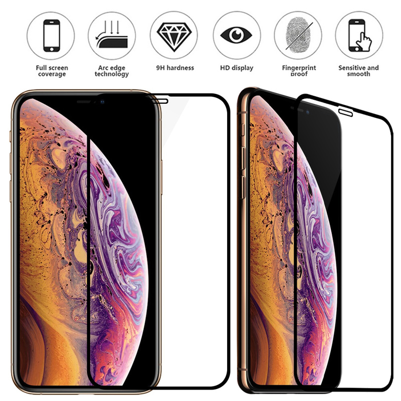 Protective Glass Screen Protector For iPhone X Tempered Glass For iPhone 7 10 XS xs MAX XR 7 8 Plus Full Cover Film 9H Protector
