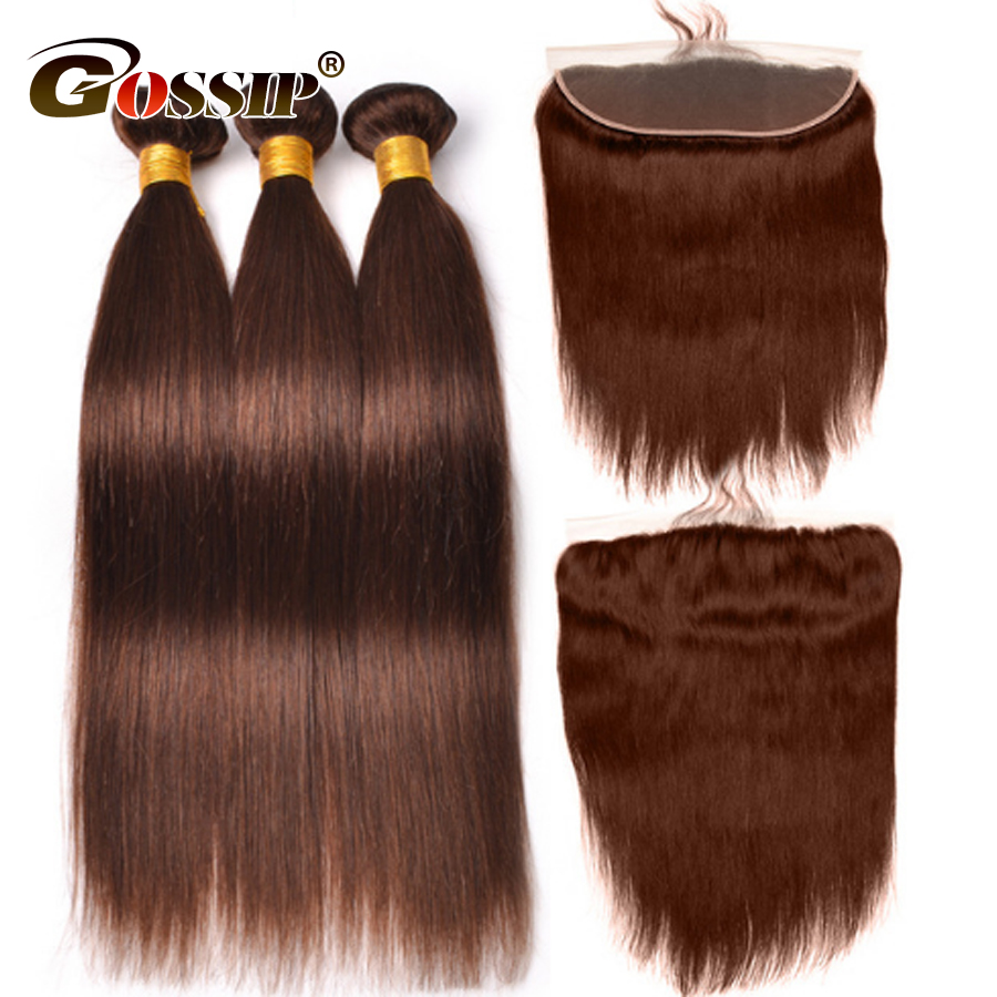 Gossip Straight Human Hair 3 Bundles With Closure Hair Extension Brazilian Hair Weave Bundles With Frontal Closure Non Remy Hair