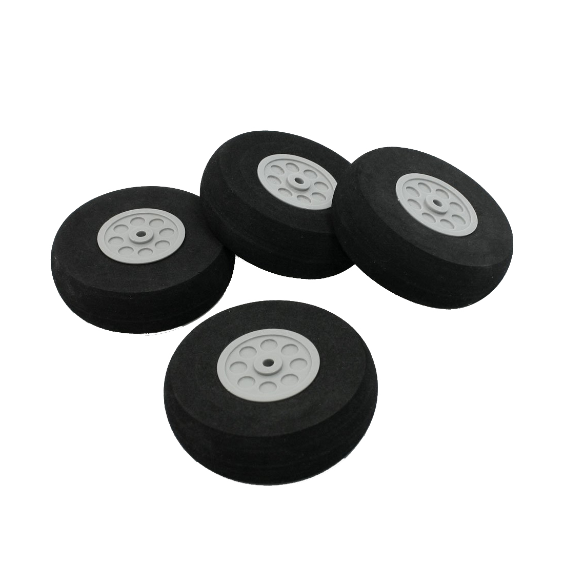 RC Model Plane Aircraft 75mm Dia sponge Wheel Replacement Black Gray 4 Pieces new phoenix 11207 b777 300er pk gii 1 400 skyteam aviation indonesia commercial jetliners plane model hobby