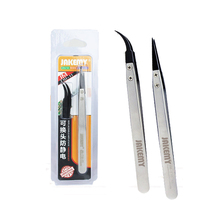 New Precisio JAKEMY Stainless Steel Electronic Anti-static Tweezers Pointed and Curved Replaceable Tips JM-T10-11 Tweezer kit