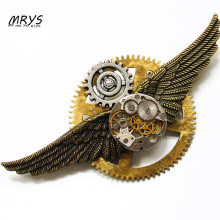 steampunk gothic punk rock hip hop wings clock watch parts metal gear collar brooch pins pendant chain men women vintage jewelry