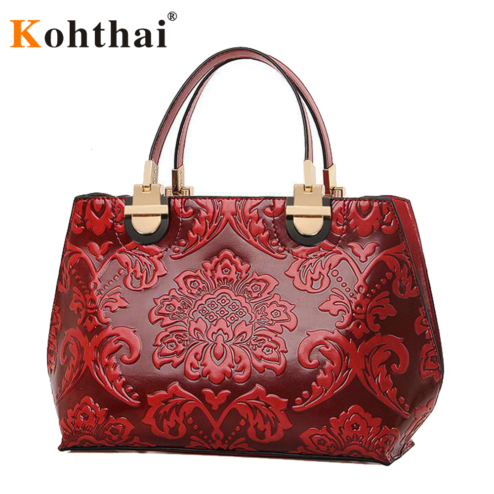 kohthai Chinese Style Red Floral Women Bag Hobos Brand ...