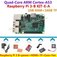 Raspberry Pi 3 Model B+16GB TF card+HDMI Cable+Black case with Fan + Power adapter+Heat sinks=Raspberry Pi 3 model B KIT-E-A