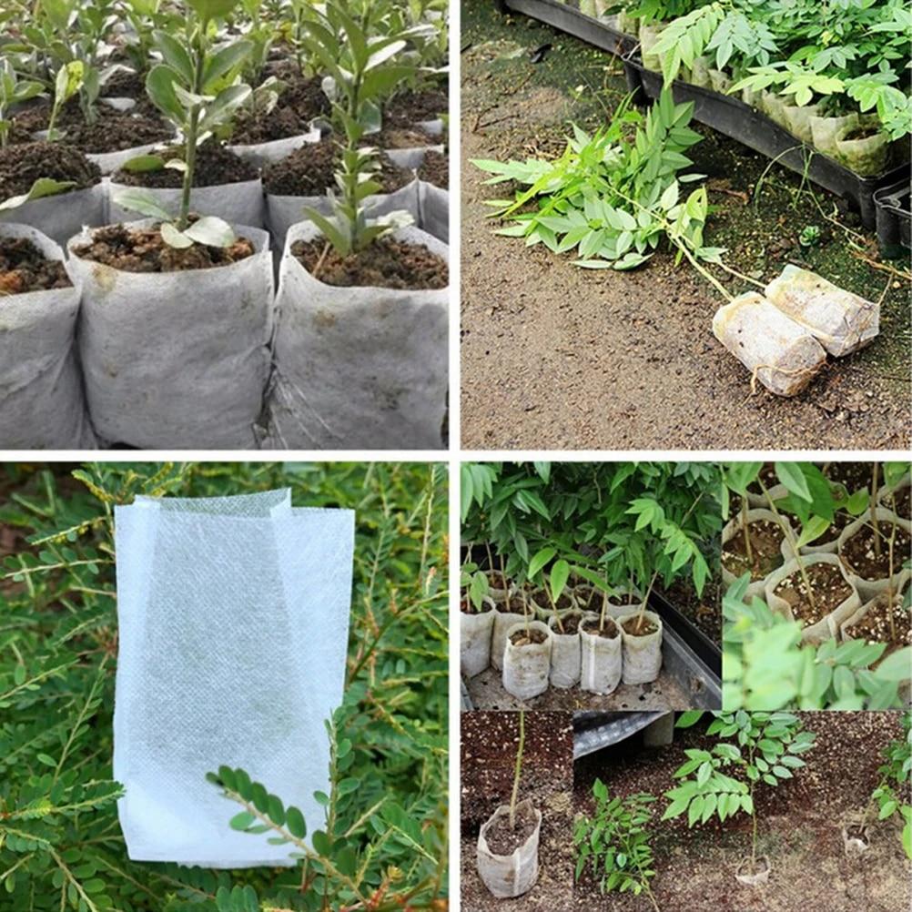 100pcs Plant Fiber Nursery Pots Seedling Raising Bag Plant Holder Garden Tool
