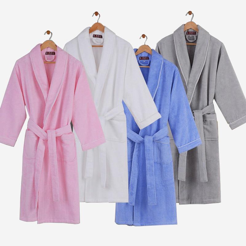 女性浴衣綿純粋な色ホワイト冬タオル地愛好家厚いバスローブ女性ホームカップル結婚式の着物ローブ秋  グループ上の 下着 & パジャマ からの ローブ の中 1