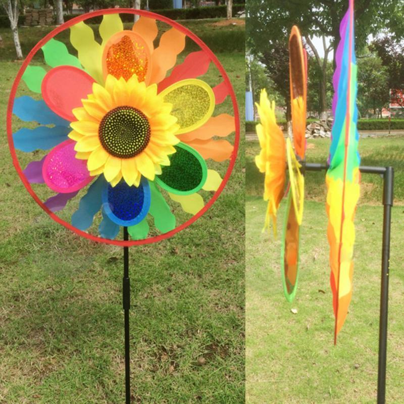 New DIY Rainbow Wheel/Double Layer Sunflower Windmill Wind Spinner Garden  Ornaments Whirligig Garden Home