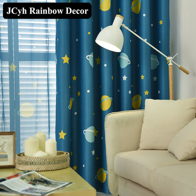 Cartoon Planet Star Blackout Curtains For Kids Room Printed Curtains For  Boys Bedroom Baby Room Window Drapes Blue Sheer Voile