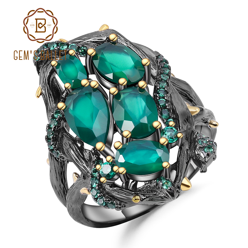 GEM'S BALLET Natural Green Agate Gemstone Rings 925 Sterling Silver Handmade Hollow Element Ring For Women Bijoux Fine Jewelry
