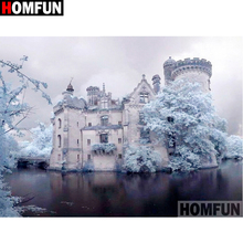HOMFUN Full Square/Round Drill 5D DIY Diamond Painting Castle scenery Embroidery Cross Stitch 5D Home Decor Gift A16382 homfun full square round drill 5d diy diamond painting deer scenery embroidery cross stitch 5d home decor gift a18124