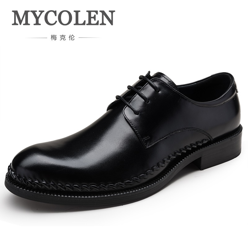 MYCOLEN Luxury Genuine Leather Men Wedding Dress Shoes New Lace Up Office Man Banquet Party Formal Footwear Oxfords Prom Shoes недорого