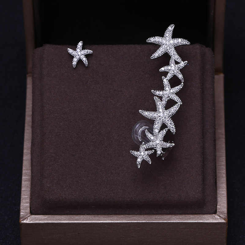 См 1,5 см * 5,3 кубический цирконий багет камни Большой морской звезды дизайн серьга со шпилькой серьги сверкающих Свадебные серьги, великолепные