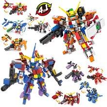 цена на 4 in 1 Transform Gundam Warrior Toy Block Action Figure Gundam Model Compatible Lego Jigsaw Robot Toy