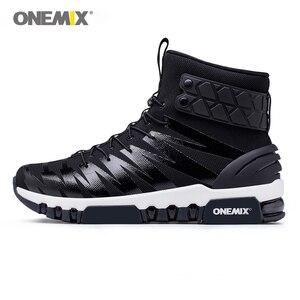 Image 4 - ONEMIX çizmeler erkekler için koşu ayakkabıları yüksek Top Trekking spor ayakkabılar çapraz spor açık koşu Sneakers rahat yürüyüş