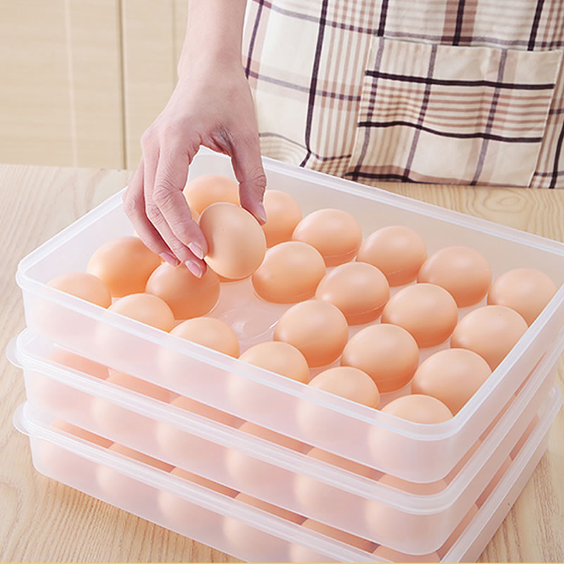 Butihome 24 Cells Egg Storage Box Shatterproof Storage Box Fridge Storage Box Egg Eco-Friendly Easy Use Products For The Kitchen
