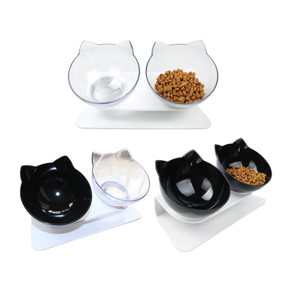 Plastic Double Non slip font b Pet b font Bowl For Dogs Puppy Cats Food Water