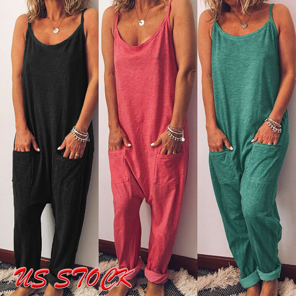 Wholesale Summer Women Strappy Solid Comfy Wide Leg   Jumpsuits   Women Casual Loose Dungarees Bib Overalls Cotton Linen Rompers W3