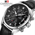 Chronograph luminous military diving running sport full steel men stop watch genuine leather strap luxury brand watches sapphire