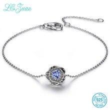 L& zuan 925 браслеты из стерлингового серебра для женщин 0.2ct натуральный Танзанит цветок лотоса браслеты изысканные ювелирные