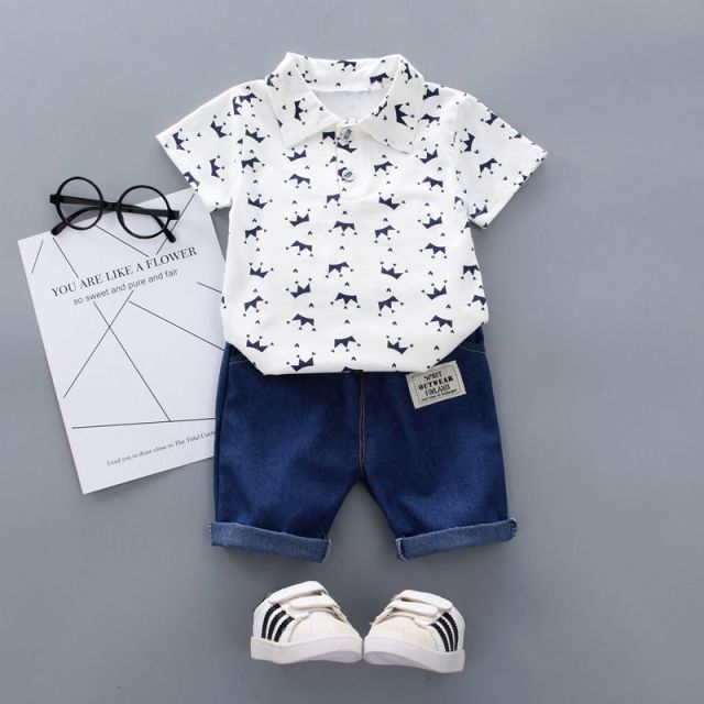 Summer Baby Boy Clothes Floral Print Short Sleeve Shirt Blouse Shorts Casual Outfits Clothes