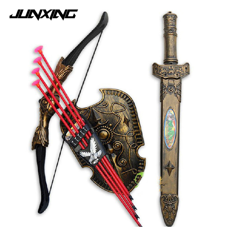 Children Toys Plastic Sword Shiled Bow and Arrow Combo Simulation Archery Toy Set Christmas New Year Gift new smith minecraft arrow action figure toy pixel mosaic bow and arrow assembled set of juguetes anti stress toys for kids