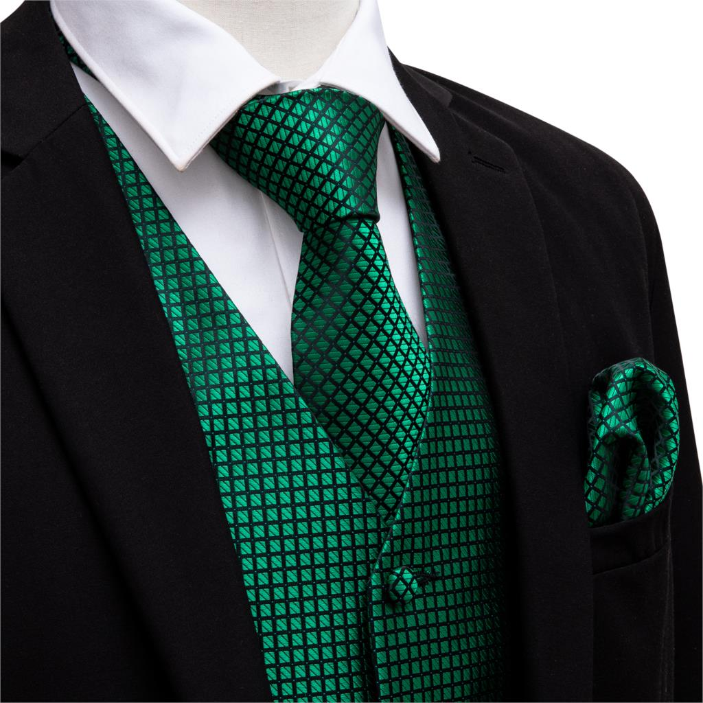 Green Suit Vest Men Paisley Waistcoat Plaid Silk Tie Handkerchief Cufflinks For Wedding Summer Vests Tuxedo MJ-2004 Barry.Wang