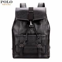 VICUNA POLO Vintage Large Leather Drawstring Backpack For Men Leather Backpack Bag Casual Boys Backpack Mochila