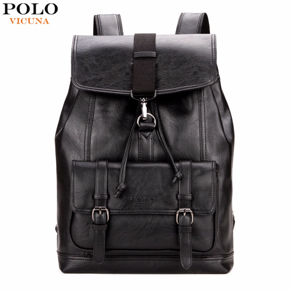 VICUNA POLO Personality Leather Coulisse Zaino in pelle Uomo Zaino Cool Fashion College Teen Zaino mochila escolar
